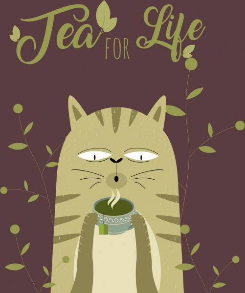 tea time banner cat leaves teacup icons