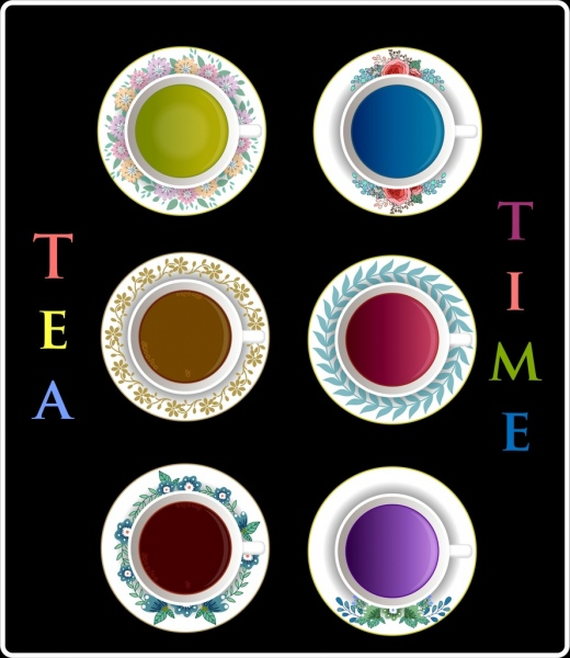 tea time banner ceramic cup icons realistic design