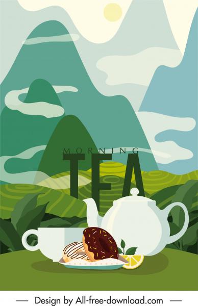 tea time banner classical elegant mountain view sketch