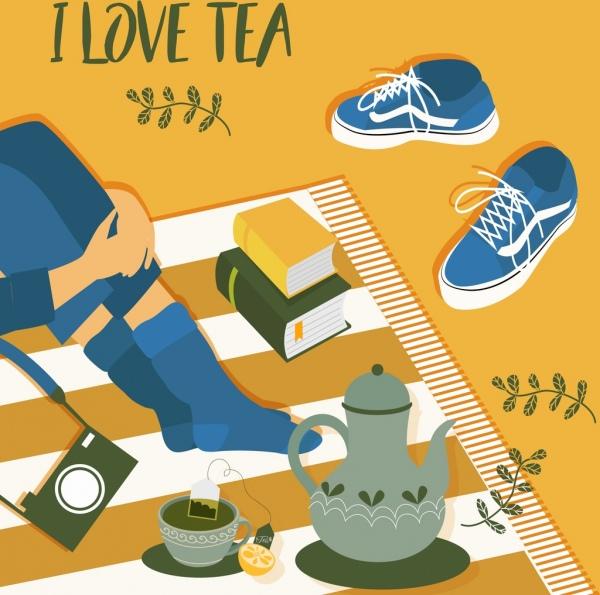 tea time banner cup pot picnic carpet icons