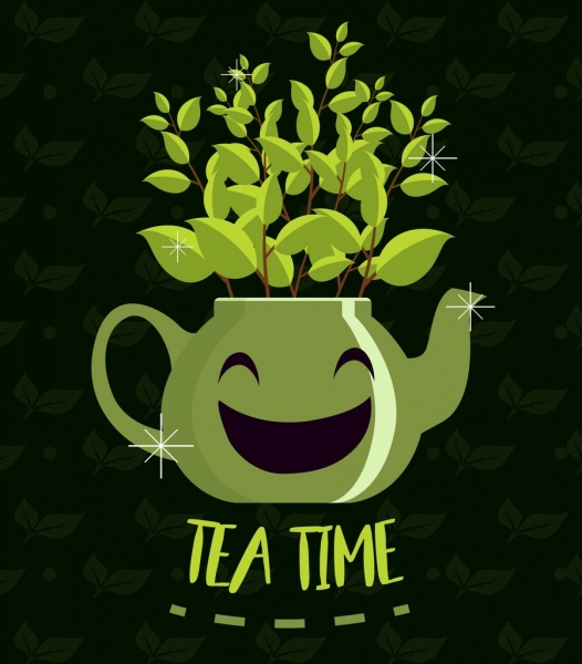 tea time banner stylized green pot leaves icons