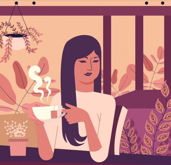 tea time drawing relaxing woman icon classical design
