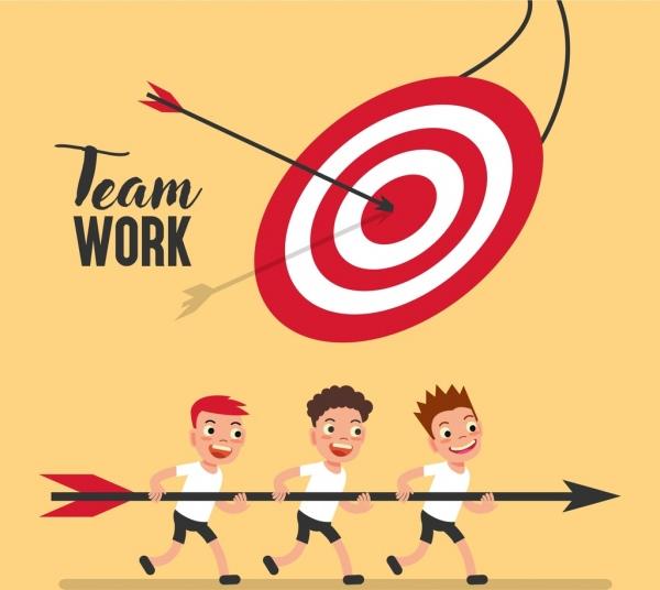 team work background boys arrow target icons decor