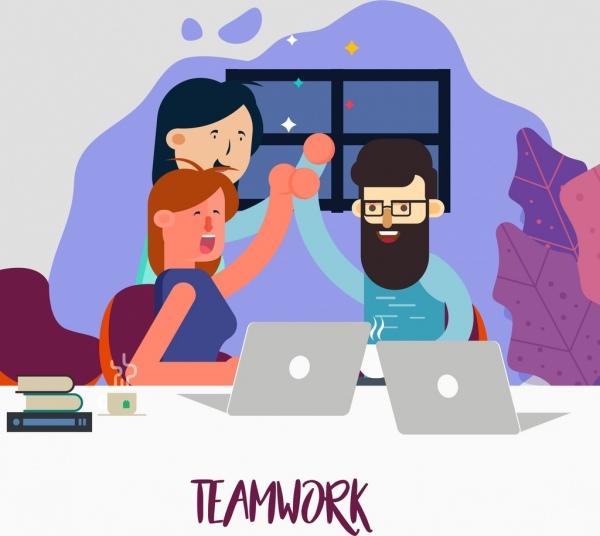 team work background cheering employee icons cartoon design