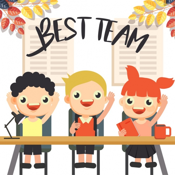 team work background cute pupils icons cartoon characters