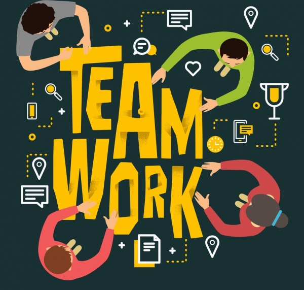 team work background human icons texts decor