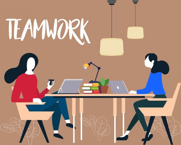 team work background working women icons colored cartoon