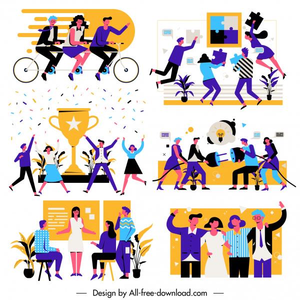 team work concept backgrounds employees activities cartoon sketch