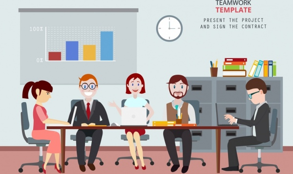 Team Work Drawing Staffs Office Workplace Colored Cartoon Free