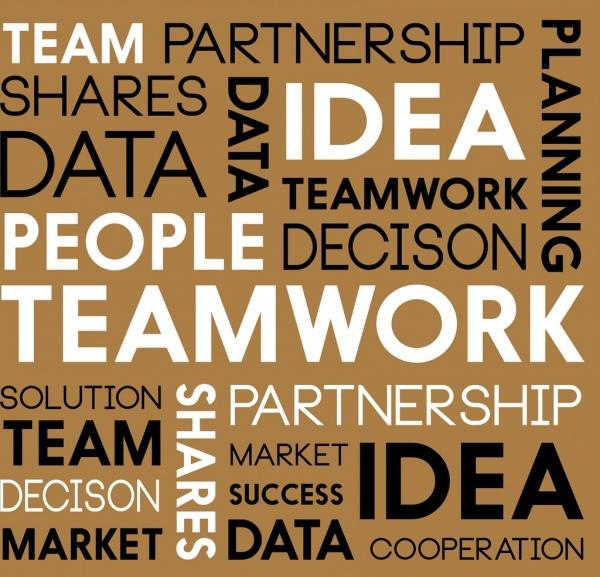 teamwork background capital texts decoration