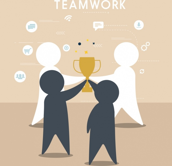 teamwork background human silhouette trophy icons