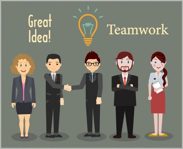 teamwork banner human lightbulb icons colored cartoon