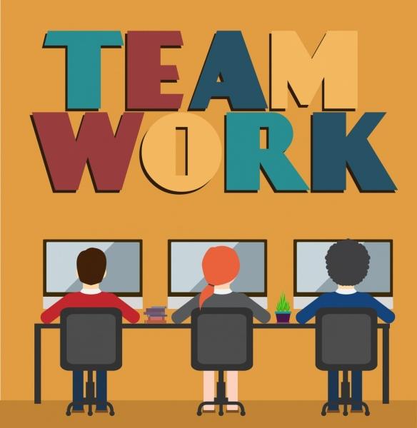 teamwork banner working staffs colorful words decor