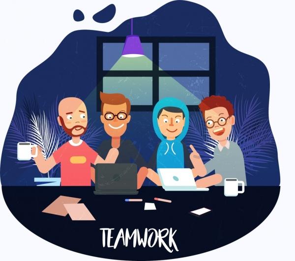 teamwork drawing working human icons colored cartoon decor