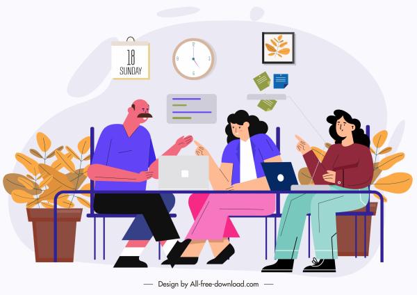 teamwork painting colored cartoon design