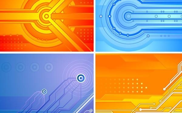 Abstract Background Sets Orange Blue Modern Design Free