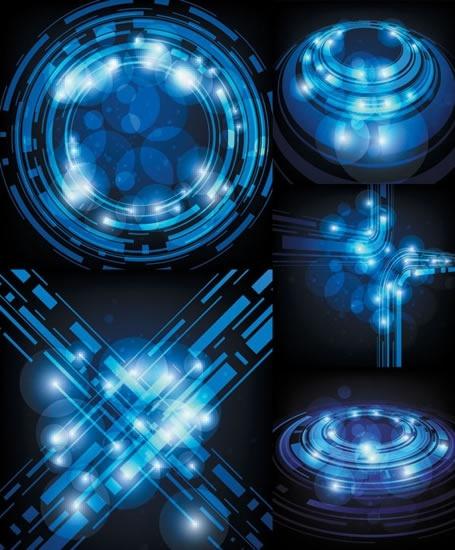 technology background templates modern blue bokeh shapes