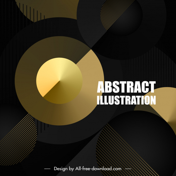 technology background shiny golden circles modern dark design