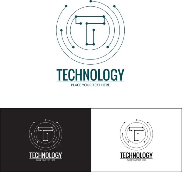 technology logo sets spots connection style lettering design