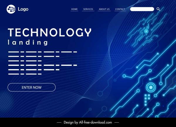 technology webpage template modern dark blue decor