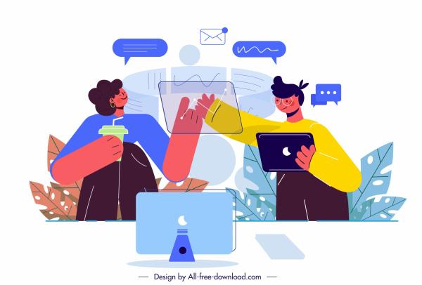 technology working background staffs computing sketch cartoon design