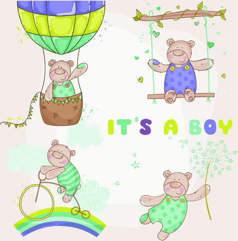 teddy bear baby boy card vector
