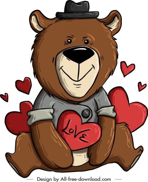 teddy bear icon love hearts decor handdrawn sketch