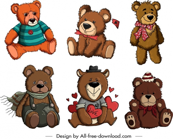 teddy bear icons collection cute stylized cartoon sketch