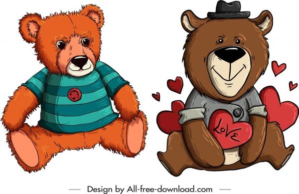 teddy bears templates cute stylized cartoon sketch free vector in