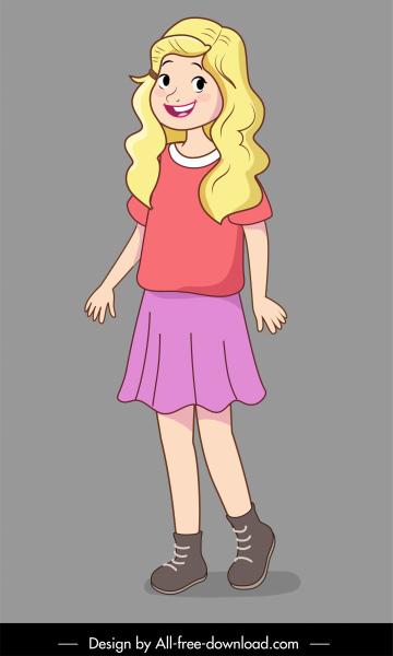 teenager icon cute blonde girl sketch cartoon design