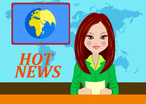 Television News Background Reporter Icon Colored Cartoon