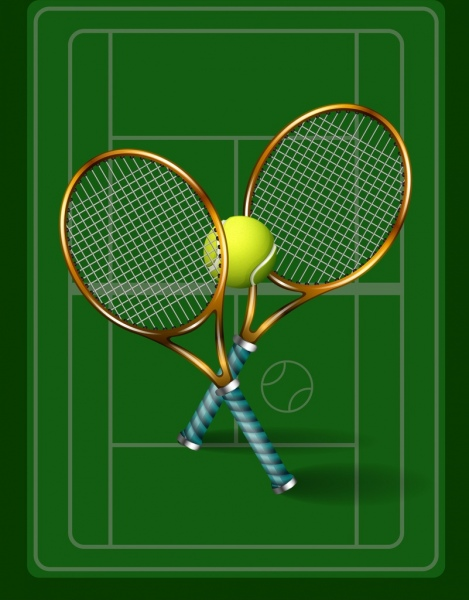 tennis background green court racket ball icons decor