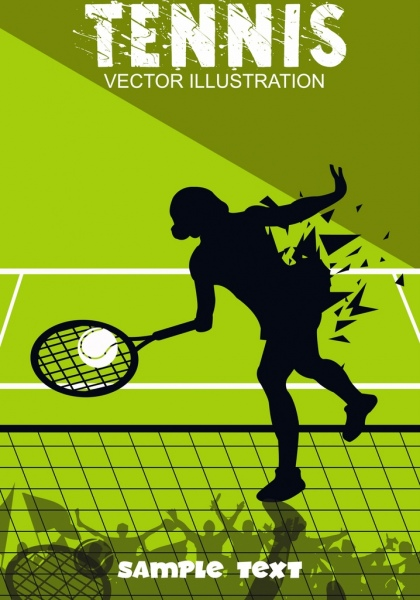 tennis background green decor female player silhouette icon