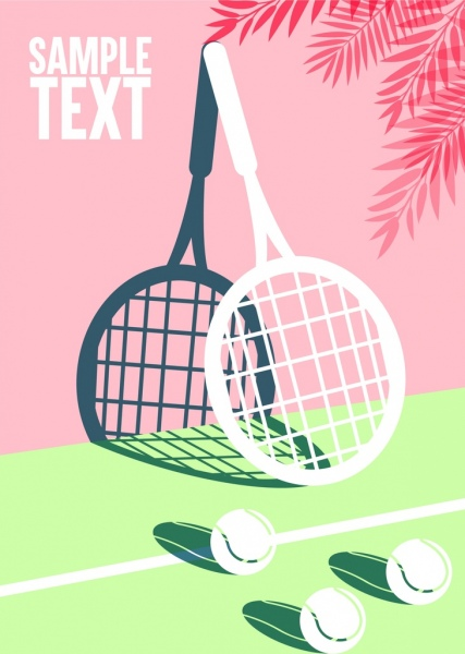 tennis background racquet ball shadow icons 3d design