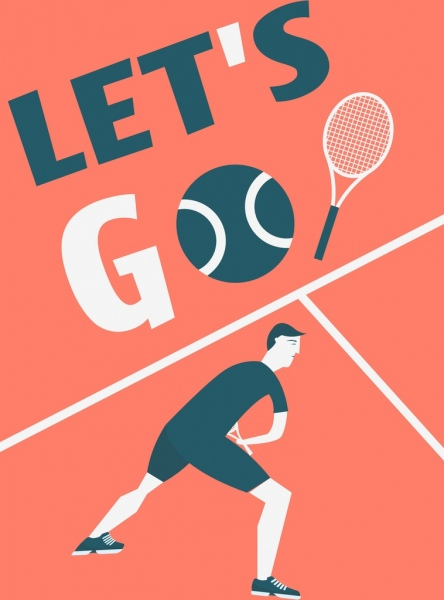 Tennis Banner Player Icon Texts Ball Decoration Free Vector In Adobe Illustrator Ai Ai Format Encapsulated Postscript Eps Eps Format Format For Free Download 1 99mb
