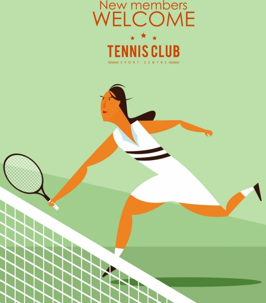 tennis club advertising female player icon colored cartoon