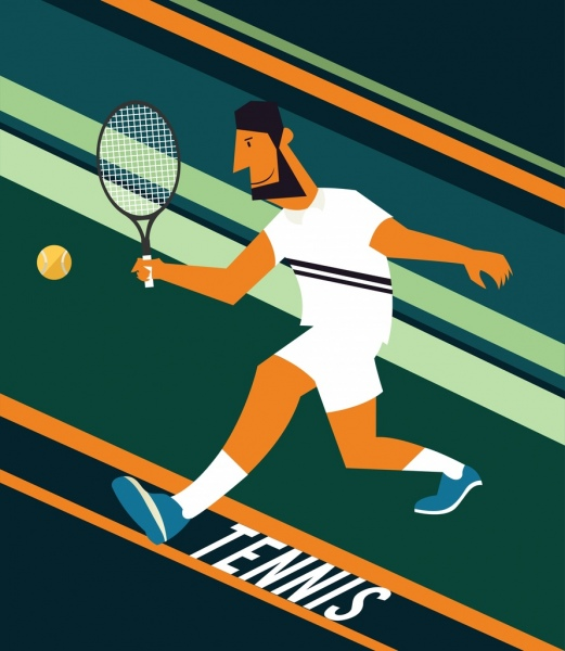 tennis game background male player icon striped decoration