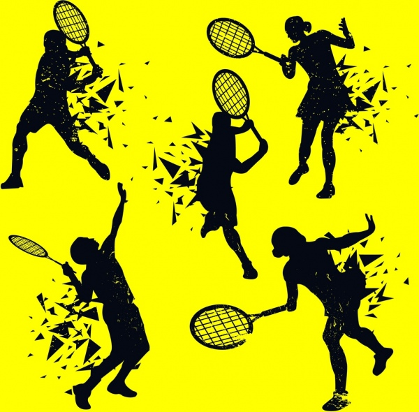 tennis player icons splashing silhouette design