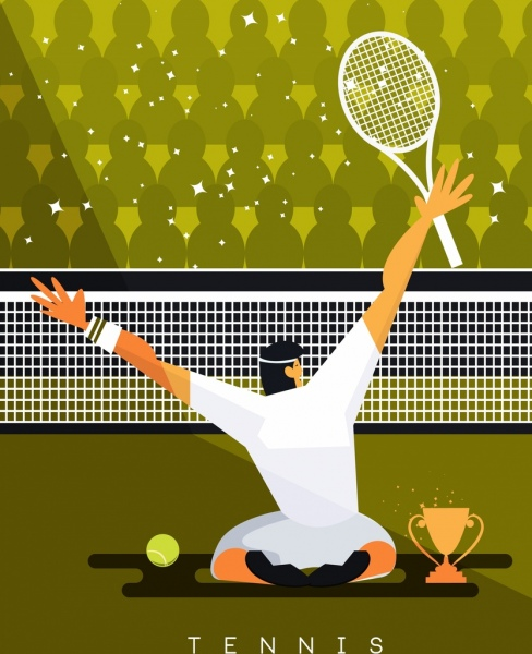 tennis tournament banner champion cup icons cartoon character