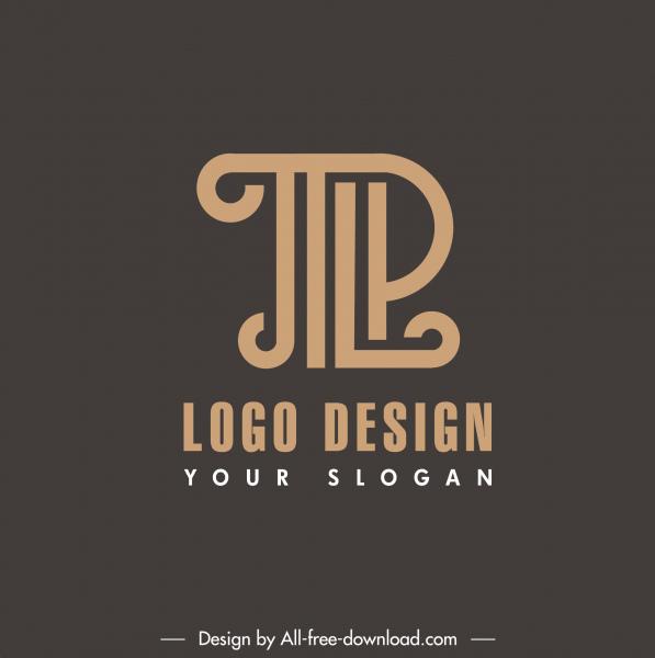 text logo template flat dark decor
