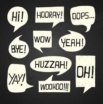 text short words and speech bubbles design vector
