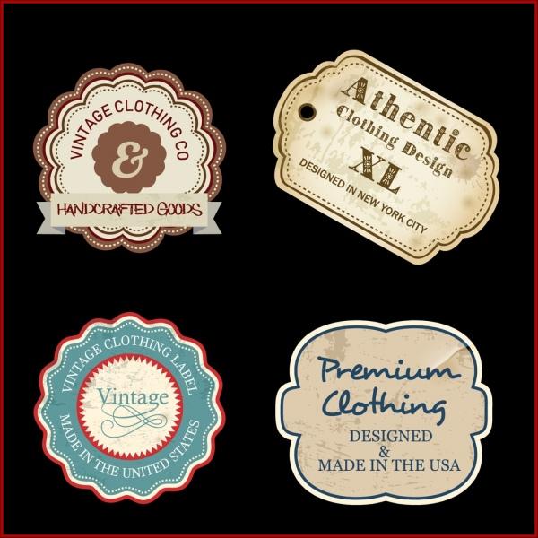 textile labels collection flat retro shapes