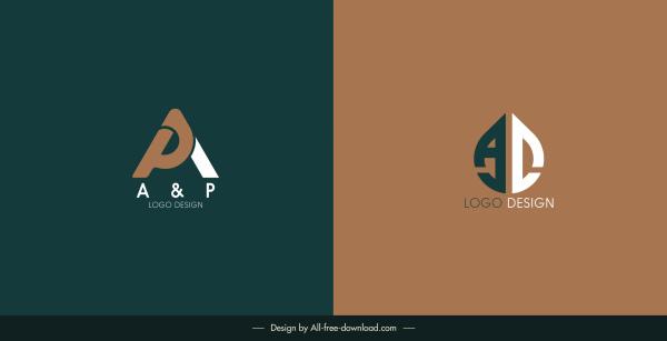 texts logo templates dark flat design