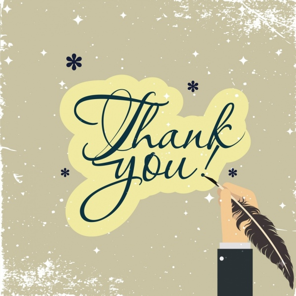 thank you banner calligraphy writing hand classical grunge
