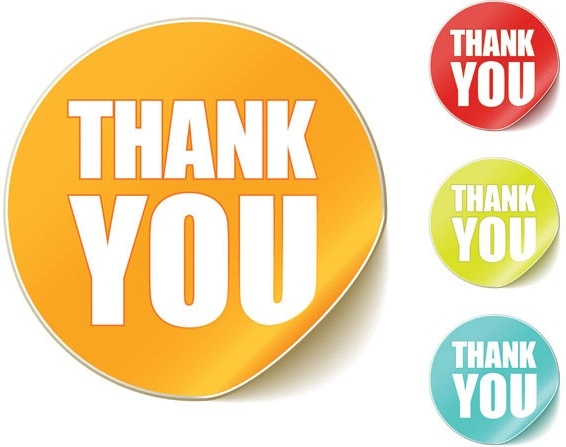 thank you clip art round stickers