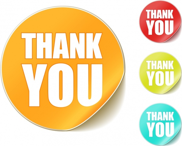thank you round stickers vector