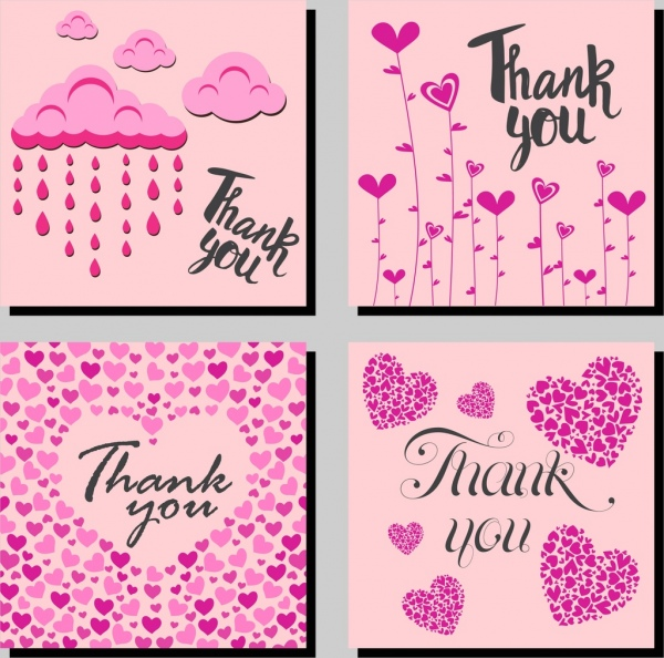 thanking card templates hearts cloud icons pink design
