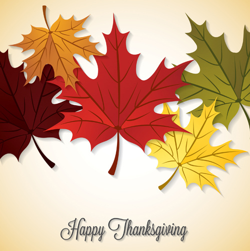 thanksgiving background with maple leaf vector design