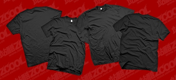 the black blank trend of tshirt template psd layered