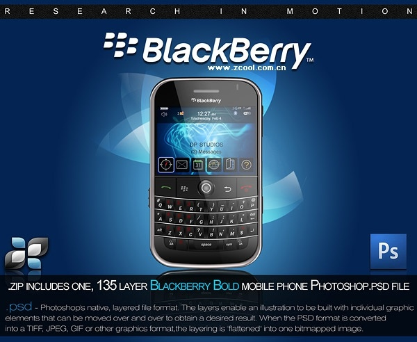the blackberry handsets psd layered